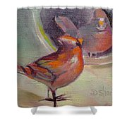 VAIN CARDINAL Shower Curtain by Donna Shortt