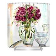 Valentines Crystal Rose Shower Curtain by Clara Sue Beym