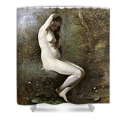 Venus Bathing Shower Curtain by Jean Baptiste Camille Corot