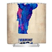 Vermont Watercolor Map Shower Curtain by Naxart Studio