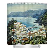 Vernazza Cinque Terre Italy Shower Curtain by Marilyn Dunlap