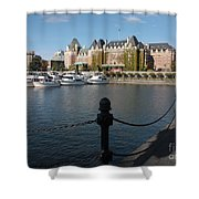 Victoria Harbour With Railing Shower Curtain by Carol Groenen