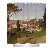 View of a Villa Shower Curtain by Jean Achille Benouville