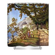 View Of Capri Shower Curtain by Theodore Aligny