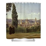 View Of Florence From The Boboli Gardens Shower Curtain by Jean Baptiste Camille Corot