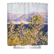 View Of The Cap Dantibes With The Mistral Blowing Shower Curtain by Claude Monet