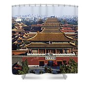 View Of The Forbidden City At Dusk From Shower Curtain by Axiom Photographic