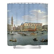View Of Venice From The Island Of San Giorgio Shower Curtain by Gaspar van Wittel