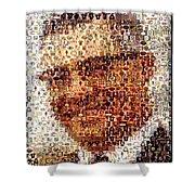 Vince Lombardi Green Bay Packers Mosaic Shower Curtain by Paul Van Scott