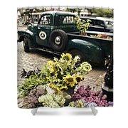 Vintage Flower Truck-Nantucket Shower Curtain by Tammy Wetzel