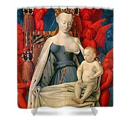 Virgin And Child Surrounded By Angels Shower Curtain by Jean Fouquet
