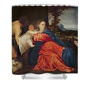 Virgin and Infant with Saint John the Baptist and Donor Shower Curtain by Titian