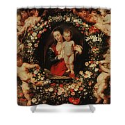 Virgin With A Garland Of Flowers Shower Curtain by Peter Paul Rubens