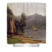 Vue Du Lac Leman Shower Curtain by Gustave Courbet