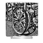 Wagon Wheel Graveyard Shower Curtain by Douglas Barnard