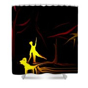 Walk In The Dog Park Shower Curtain by David Lane