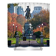 Washington Statue In Autumn Shower Curtain by Susan Cole Kelly