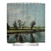 Water Meadows Near Salisbury Shower Curtain by John Constable