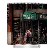 Water St Gourmet Deli Shower Curtain by Mike Savad