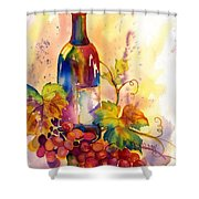 Watercolor Wine Shower Curtain by Peggy Wilson