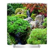 Waterfalls In Japanese Garden Shower Curtain by Carol Groenen