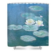 Waterlilies Evening Shower Curtain by Claude Monet