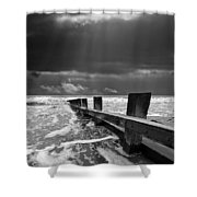 Wave Defenses Shower Curtain by Meirion Matthias