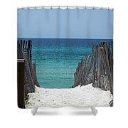 Way To The Beach Shower Curtain by Susanne Van Hulst
