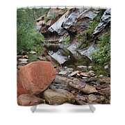 West Fork Trail River and Rock Horizontal Shower Curtain by Heather Kirk