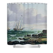 Whalers Coming Home Shower Curtain by American School