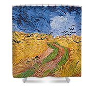 Wheatfield with Crows Shower Curtain by Vincent van Gogh