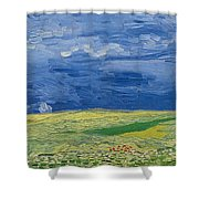 Wheatfields Under Thunderclouds Shower Curtain by Vincent Van Gogh