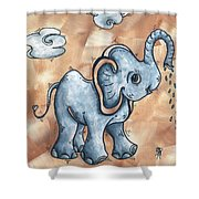 Whimsical Pop Art Childrens Nursery Original Elephant Painting Adorable By Madart Shower Curtain by Megan Duncanson