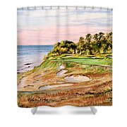 Whistling Straits Golf Course 17th Hole Shower Curtain by Bill Holkham