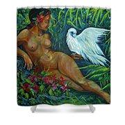 White Bird Shower Curtain by Anna  Duyunova
