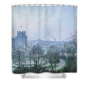 White Frost Jardin Des Tuileries Shower Curtain by Camille Pissarro
