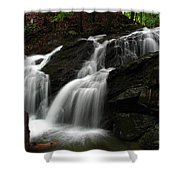 White Mountains Waterfall Shower Curtain by Juergen Roth