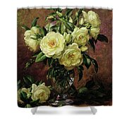 White Roses - A Gift From The Heart Shower Curtain by Albert Williams