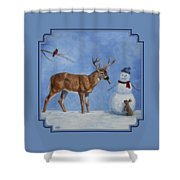 Whitetail Deer And Snowman - Whose Carrot? Shower Curtain by Crista Forest
