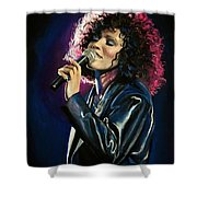Whitney Houston Shower Curtain by Tom Carlton