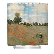 Wild Poppies Near Argenteuil Shower Curtain by Claude Monet
