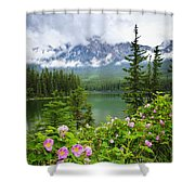 Wild Roses And Mountain Lake In Jasper National Park Shower Curtain by Elena Elisseeva