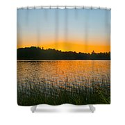 Wilderness Point Sunset Panorama Shower Curtain by Gary Eason