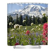 Wildflowers In Mount Rainier National Shower Curtain by Dan Sherwood
