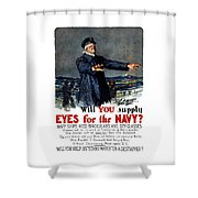 Will You Supply Eyes For The Navy Shower Curtain by War Is Hell Store