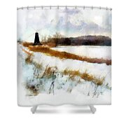 Windmill In The Snow Shower Curtain by Valerie Anne Kelly
