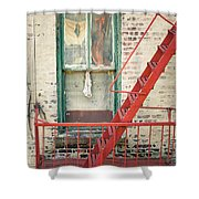 Window And Red Fire Escape Shower Curtain by Gary Heller
