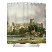 Windsor Castle - From The Thames Shower Curtain by Alfred Vickers