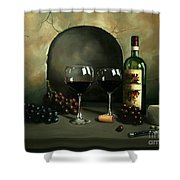Wine For Two Shower Curtain by Paul Walsh