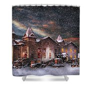 Winter - Clinton Nj - Silent Night  Shower Curtain by Mike Savad